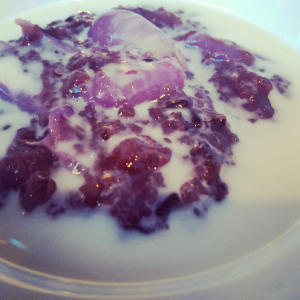 6th Course - Rice Pudding - Purple rice pudding with Lychee, warm coconut milk infused Pandan leaf.