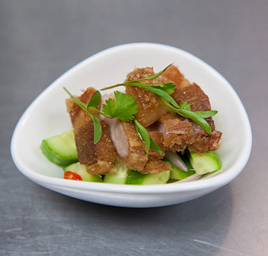 PORK BELLY KRATIEM PRIK THAI WITH CUCUMBER SALAD