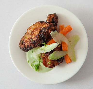 NAM PRIK PAO WINGS WITH CILANTRO YOGURT